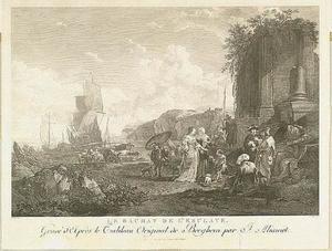 Schepen op de rede van een zuidellijke kust met een slavenmarkt