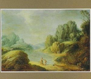 Berglandschap met de doop van Christus
