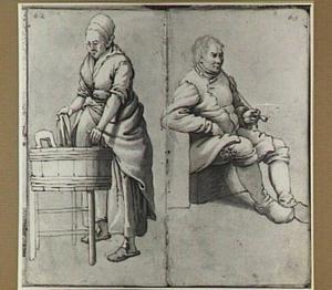 Wassende vrouw en zittende man met pijp