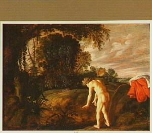 Narcissus zichzelf spiegelend in het water