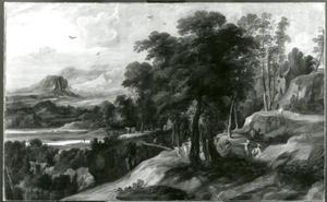 Heuvelachtig landschap met figuren