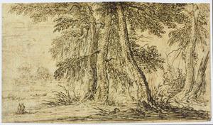 Boslandschap met twee figuren