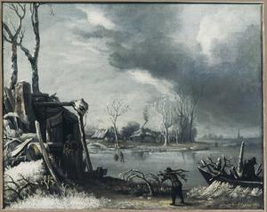 Winterlandschap met houtsprokkelaars bij een hut aan een vaart
