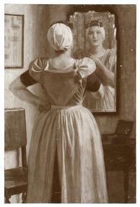 Vrouw in klederdracht aan haat toilet