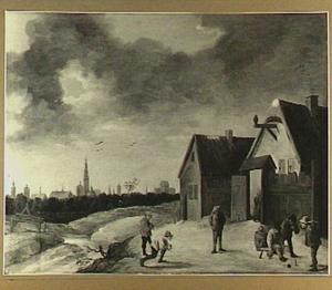 Kegelende boeren voor herberg, op de achtergrond Antwerpen
