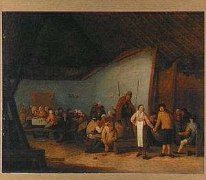 Interieur met feestende en dansende boeren bij een draailierspeler