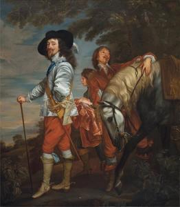 'Karel I op jacht', portret van de koning Karel I Stuart (1600-1649), met twee pages en zijn paard