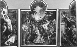 De marteling van de H. Joris (links), de onthoofding van de H. Joris (midden), de vernietiging van de afgodsbeelden die de H. Joris weigerde te aanbidden (rechts)