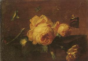 Bloemstilleven op een marmeren blad