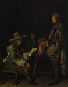 Interieur met een brieflezende officier en een bode