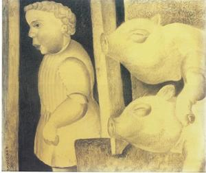 Fluitend jongetje in varkenskot
