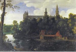 Bebost rivierlandschap met het Hotel de Nassau te Brussel
