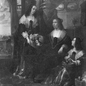 Vrouw van een admiraal met haar twee dochters