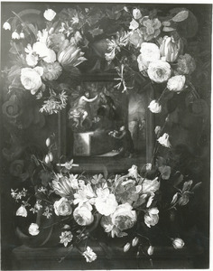 Cartouche versierd met bloemen met een voorstelling van de Maagd Maria die de Heilige Dominikus bij Christus aanbeveeld