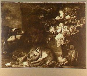 Hond bij buit van haas, gevogelte en everzwijn; rechts een mand met vruchten
