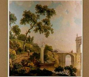 Italianiserend landschap met zeilbootje bij een brug