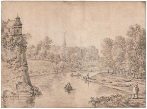 Gezicht over de Stadsbuitengracht te Utrecht op de stadswal met van links naar rechts bastion Manenburg, Servaasabdij, Servaastoren en bastion Zonnenburg