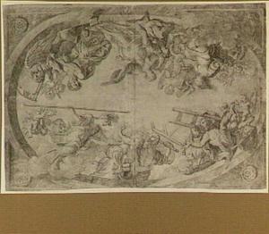 Allegorie op de afscheiding van de kunstschilders uit het Haagse Lucasgilde