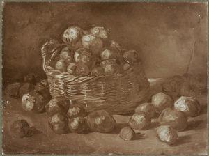 Stilleven van een mand met aardappelen
