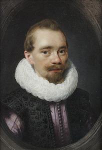 Portret van een onbekende man in een geschilderde stenen ovaal