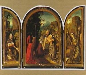 De H. Antonius (links), de H. Hieronymus in de wildernis (midden), de H. Franciscus ontvangt de stigmata (rechts)