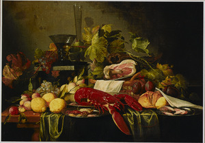 Pronkstilleven met vruchten, een kreeft,  een ham,  en glaswerk op een tafel