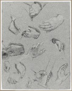 Studies van twaalf handen, gedeeltelijk met drinkgerei