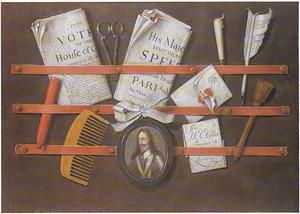 Trompe-l'oeil met een portretminiatuur van koning Karel van Engeland (1600-1649)