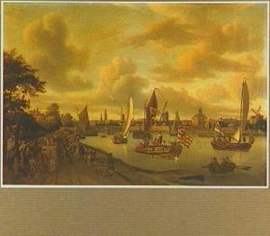 Gezicht op Amsterdam met de torens van de Zuiderkerk en de Oude Kerk, de molens Groen, de Bun en 't Fortuyn en de Weesperpoort; in de voorgrond pleziervaart