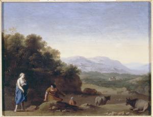 Arcadisch landschap met herders
