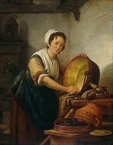 Vrouw in een keuken, een ketel schurend