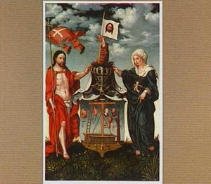 De herrezen Christus en Maria bij een wapenbord met de Arma Christi