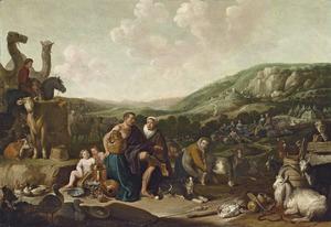 Jacob met zijn gezin en vee onderweg naar Kanaän (Genesis 31:1-21)
