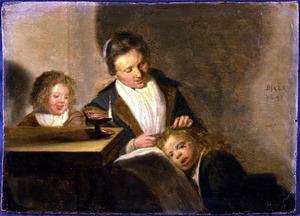 Moeder met twee kinderen in een interieur bij kaarslicht