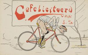 Gefeliciteerd van J.S., zelfportret op fiets
