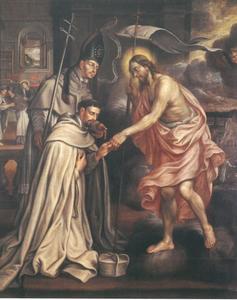 De H. Norbert stelt de Premonstratense H. Hugo voor aan de wederopgestane Christus