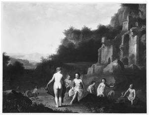 Arcadisch landschap met Diana en haar gezellinnen badend bij een ruïne