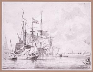 Hollands oorlogsschip voor anker bij een stad