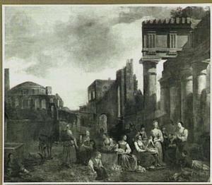Italiaanse markt bij oude ruïnes