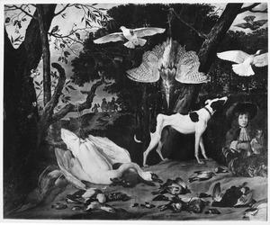 Jachtscene met valkenjacht en (later) portret van een jonge valkenier, wellicht Dirck de Vlaming van Oudshoorn
