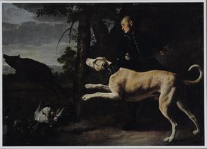 Boslandschap met een jager met hond die een zwijn achtervolgen, op de voorgrond eenden in een vijver