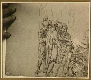Groep Romeinse soldaten rond een tafel
