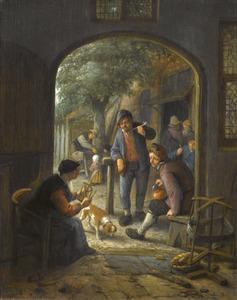 Oude vrouw in gesprek met rokende en drinkende boeren in de deuropening van een herberg