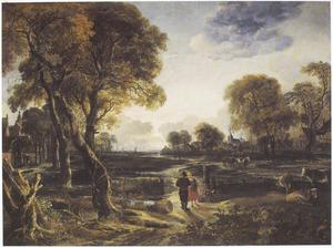 Landschap met koeien en boeren, twee dorpen in de achtergrond