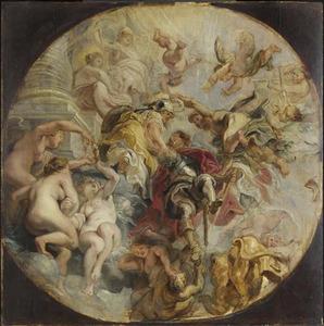Minerva en Mercurius leiden George Villiers, hertog van Buckingham naar de tempel van Virtus