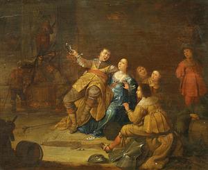 Soldaten met hoeren feestend in een geplunderde kerk