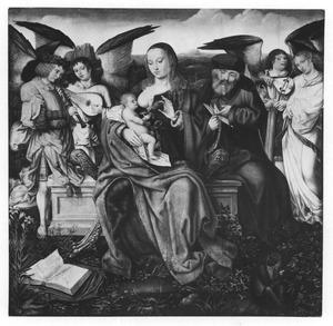 De H. Familie met musicerende engelen