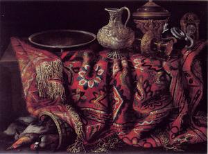 Stilleven met pronkstukken en een oosters tapijt