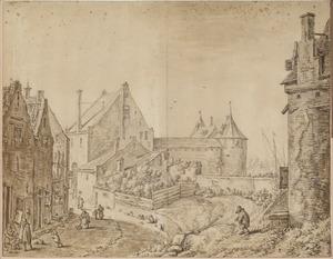 Gezicht achter de stadswal met op de achtergrond de Weerdpoort, Utrecht