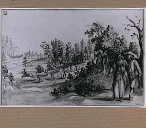 Landschap met galante figuren en overval op een reiswagen